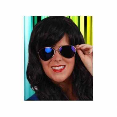 Carnaval spiegelbril blauw