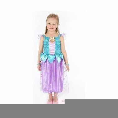 Carnaval verkleedkleding prinses blauw/paars meisjes
