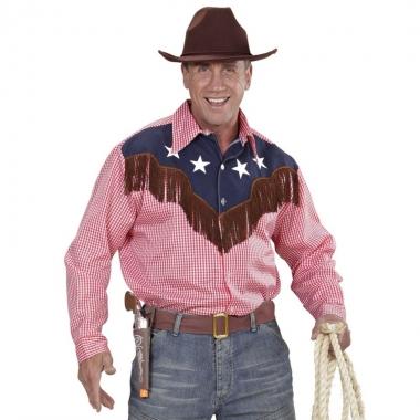 Carnavals rodeo blouse geruit voor heren
