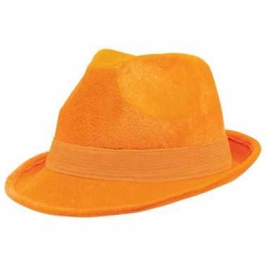 Carnavalshoed oranje suede