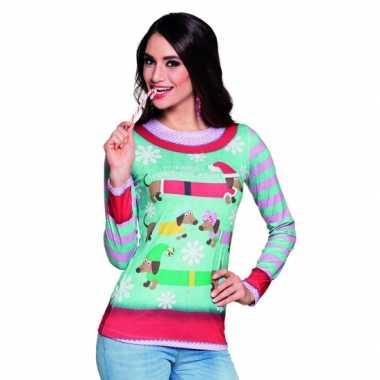 Carnavalskostuum kerstprint dames shirt