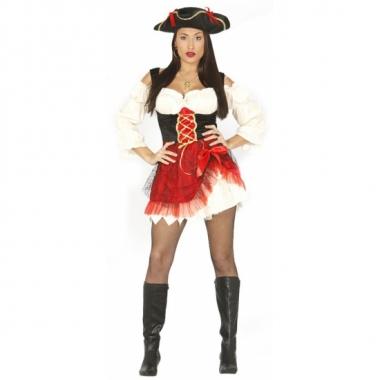 Carnavalskostuum piratenjurkje rood