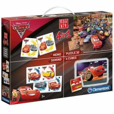 Cars puzzel en speel box 4 in 1