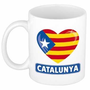 Catalaanse vlag hartje theebeker 300 ml