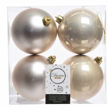 Champagne kerstversiering kerstballen 8x kunststof 10 cm