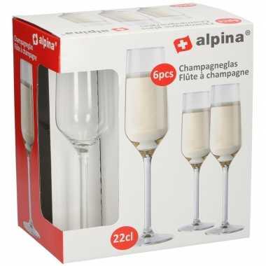 Champagneglas / glazen 6x stuks 22 centiliter