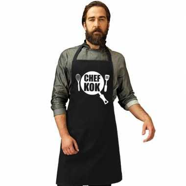 Chef kok keukenschort zwart heren en dames