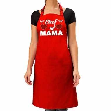 Chef mama keukenschort rood voor dames / moederdag