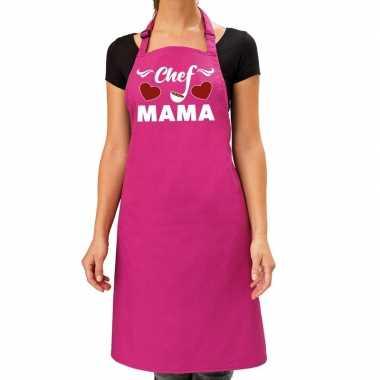 Chef mama keukenschort roze voor dames / moederdag