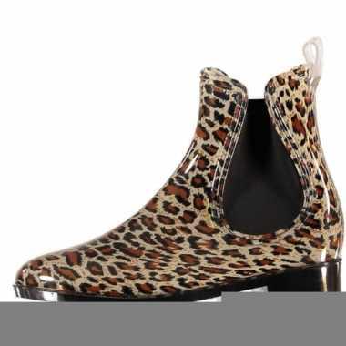 Chelsea boots regenlaarsjes luipaard voor dames