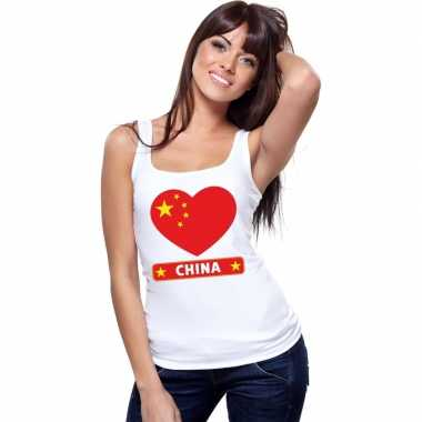China hart vlag singlet shirt/ tanktop wit dames