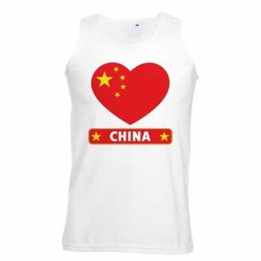 China hart vlag singlet shirt/ tanktop wit heren