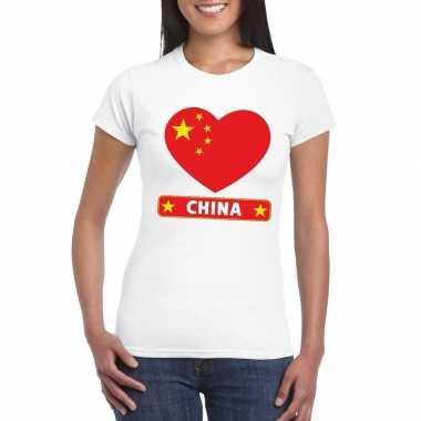China hart vlag t-shirt wit dames