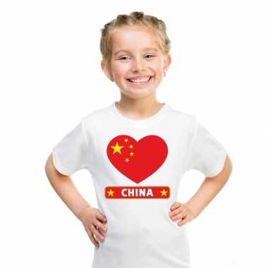 China hart vlag t-shirt wit jongens en meisjes