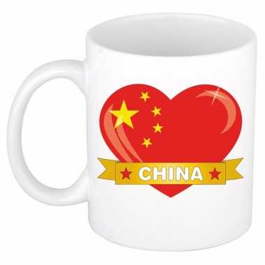 Chinese vlag hartje theebeker 300 ml