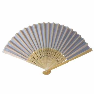 Chinese wit houten waaier 45 cm