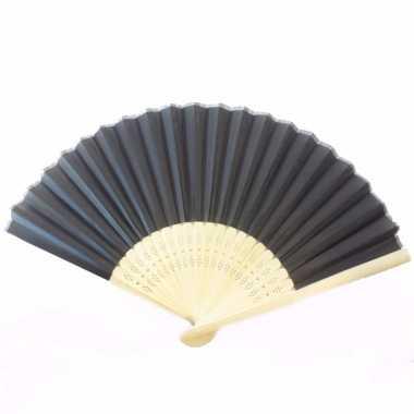 Chinese zwart houten waaier 45 cm