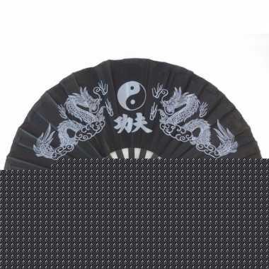 Chinese zwarte tai chie waaier 65 cm