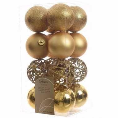 Chique christmas kerstboom decoratie kerstballen goud 16 x