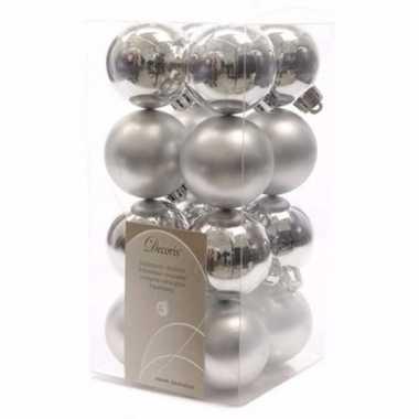 Chique christmas kerstboom decoratie kerstballetjes zilver 16 x