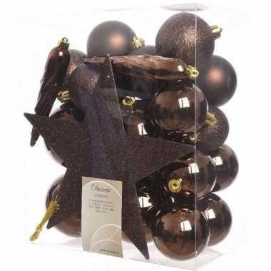 Chique christmas kerstboom decoratie set bruin 33 delig