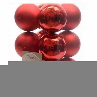 Christmas red kerstboom decoratie kerstballen rood 12 x