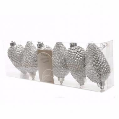 Christmas silver glitter zilveren dennenappel hangdecoratie
