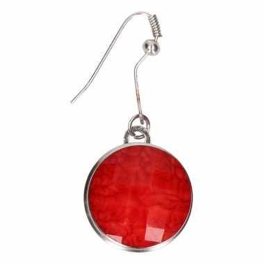 Chunk oorbelletjes rode steen voor volwassenen