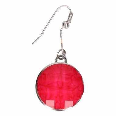 Chunk oorbelletjes roze steen voor volwassenen