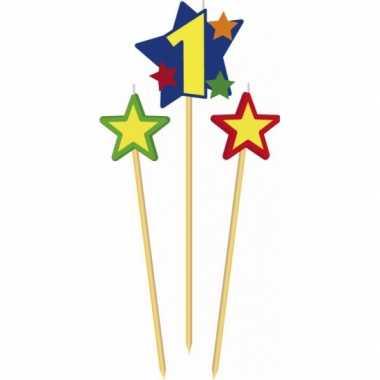Cijfer 1 prikker kaars met sterren
