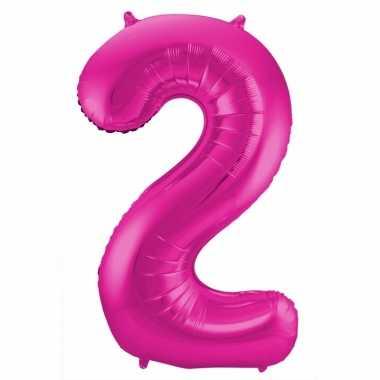 Cijfer 2 ballon roze 86 cm