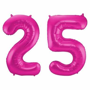 Cijfer 25 ballon roze 86 cm