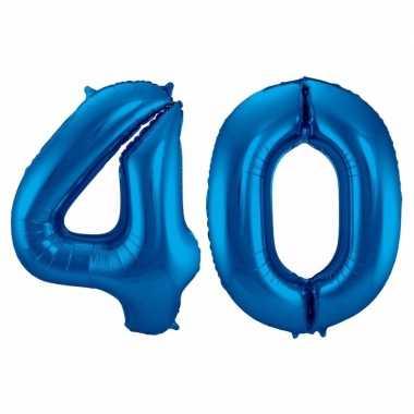 Cijfer 40 ballon blauw 86 cm