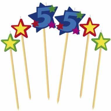 Cijfer 55 prikker kaars met sterren
