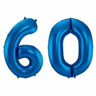 Cijfer 60 ballon blauw 86 cm