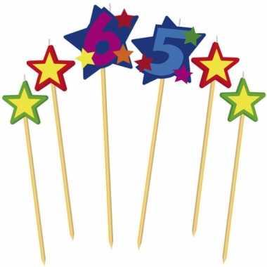 Cijfer 65 prikker kaars met sterren