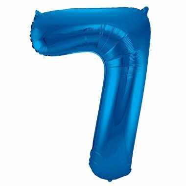 Cijfer 7 ballon blauw 86 cm
