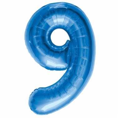 Cijfer 9 ballon blauw 86 cm