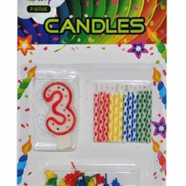 Cijfer kaarsen rood nummer 3