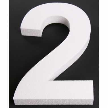 Cijfer twee van piepschuim 25 cm