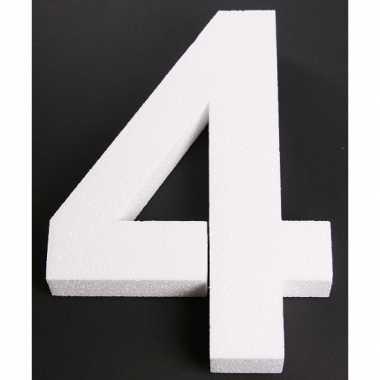 Cijfer vier van piepschuim 25 cm