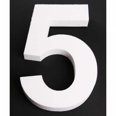Cijfer vijf van piepschuim 25 cm