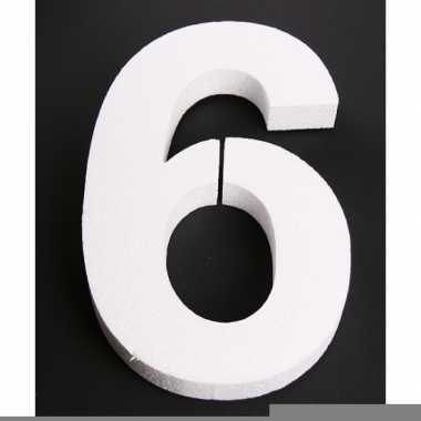 Cijfer zes van piepschuim 25 cm