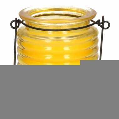 Citronellakaars in geel geribbeld glas 7,5 cm