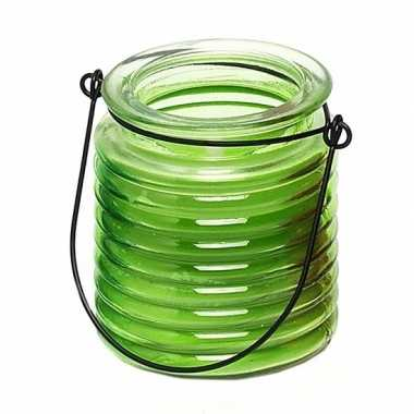 Citronellakaars in groen geribbeld glas 7,5 cm