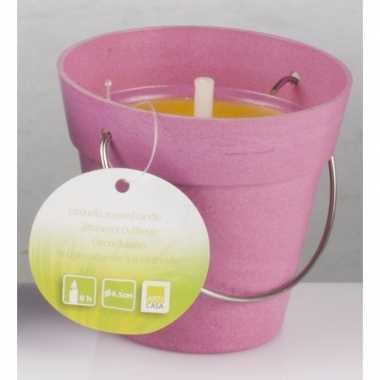 Citronellakaars in roze emmertje 8 cm