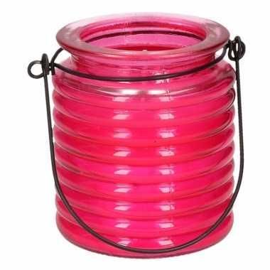Citronellakaars in roze geribbeld glas 7,5 cm