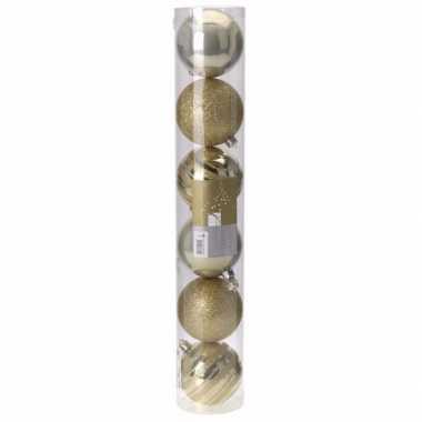 Classic gold kerstversiering plastic gouden ballen set 6 stuks