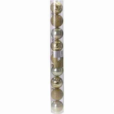 Classic gold kerstversiering plastic gouden ballen set 9 stuks