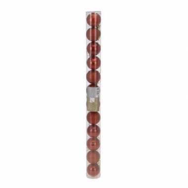 Classic red kerstversiering plastic rode ballen set 12 stuks